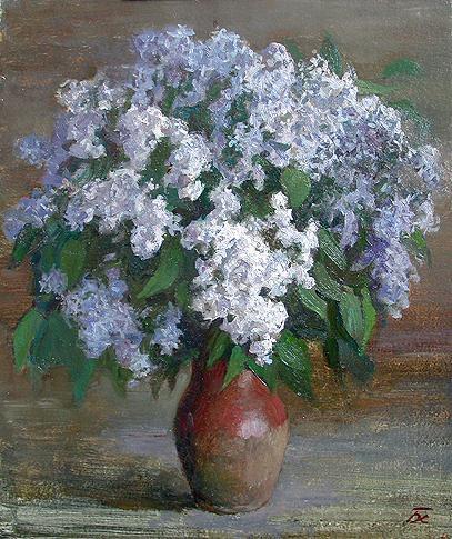Boris Hudiakov. Lilac. 1998. Illustration board, oil