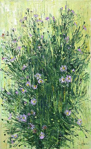Lisa Hudiakova. Chrysanthemums. 2005. Canvas, oil
