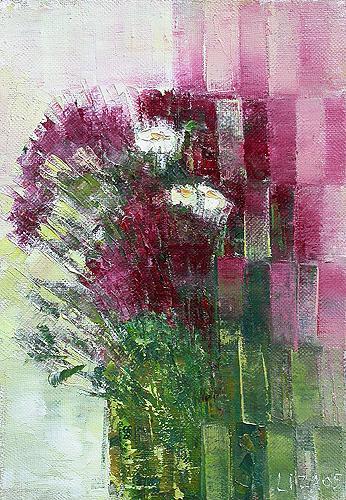 Lisa Hudiakova. Asters. 2005. Canvas, oil