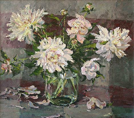 Nikolay Lukashuk. Peonies. 2004. Illustration board, oil