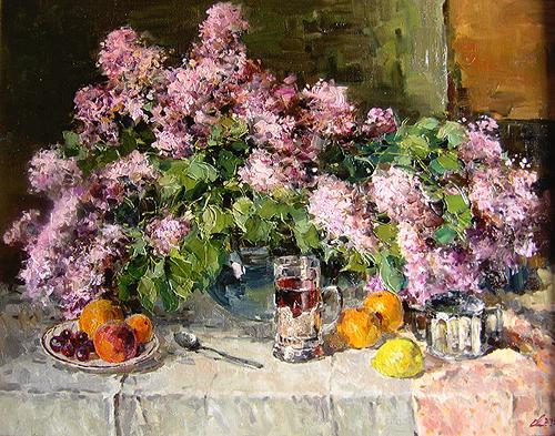 Evgeniy Malykh. Bouquet and Fruit. 2005. Canvas, oil