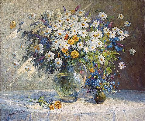 Mikhail Kalinin. Camomiles. 2004. Canvas, oil
